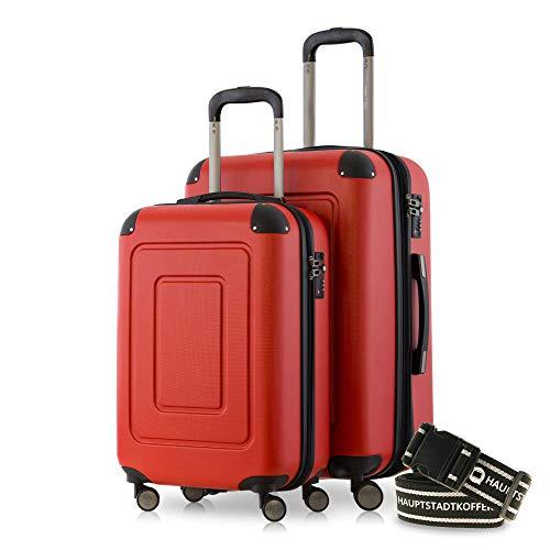 Happy Trolley - 2er Koffer-Set Trolley-Set Rollkoffer Hartschalen-Koffer Reisekoffer Lugano sehr leicht, TSA, (S+M), Rot +Gepäckgurt