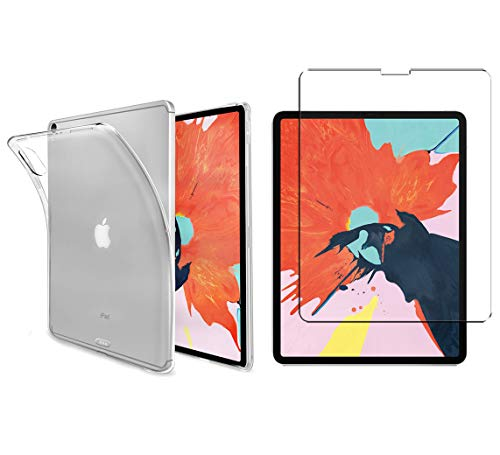 Luch iPad Pro 11 Inch 2018 TPU Protective Case + Tempered Glass Film - Transparent Case Cover Transparent Soft Silicone Crystal Clear Case for Apple iPad Pro 11 Inch Transparent