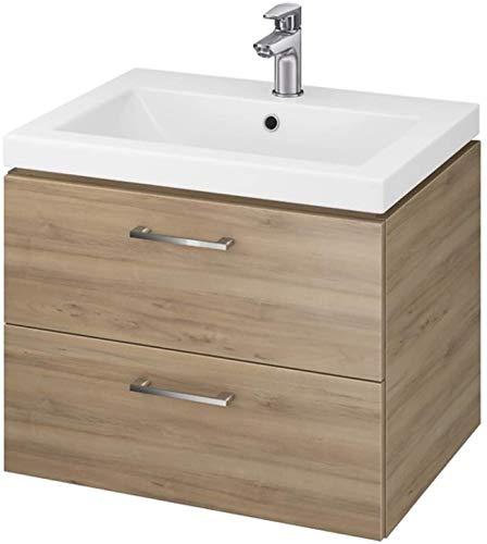 VBChome Waschtischunterschrank 50 cm Badmöbel Waschbecken mit Unterschrank 2 Schubladen Nussbaum