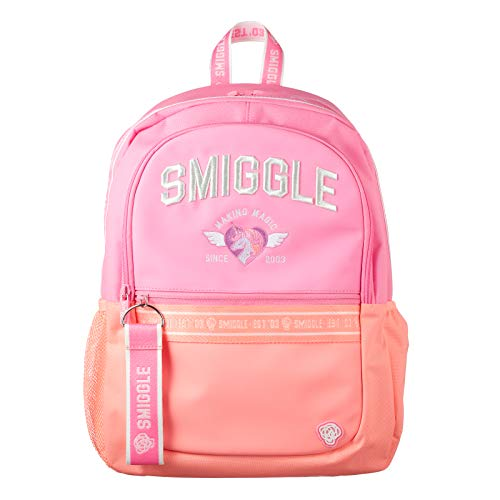 Smiggle Smiggler Kids School Backpack for Boys & Girls with 4 Zipped Comparments, Laptop Compartment & Dual Drink Bottle Sleeves | Pink