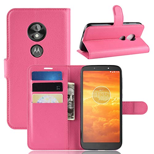LMFULM® Hülle für Motorola Moto E5 Play (5.3 Zoll) [Fit UK Version only] PU Leder Magnet Brieftasche Lederhülle Handytasche Litschi Muster Standfunktion Ledertasche Flip Cover Rose Rot