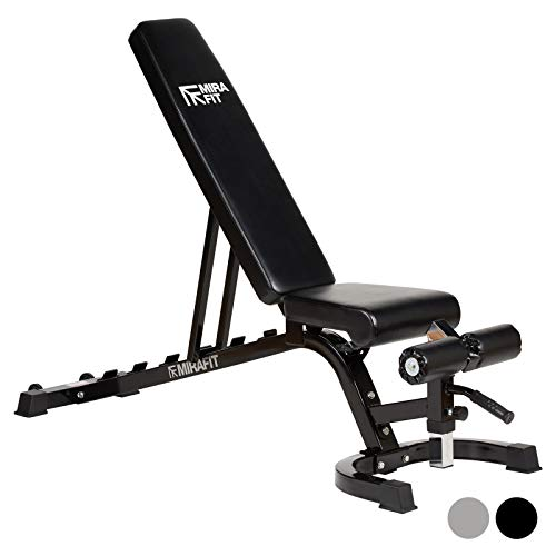 Mirafit Easy Move Fully Adjustable Weight Bench - Black or Silver