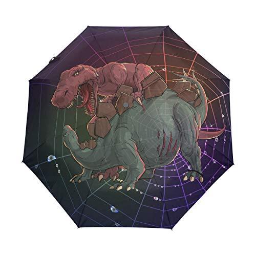 Dinosaurier-Kampf Regenschirm Auf-Zu Automatik UV-Schutz Taschenschirm Winddichter Umbrella Klein Leicht Schirm Kompakt Schirme für Jungen Mädchen Reise Strand Frauen