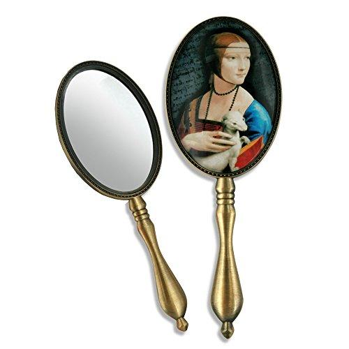 CARMANI - Shabby Chic Miroir ? Main avec Leonardo Da Vinci 'Lady with an Ermine'