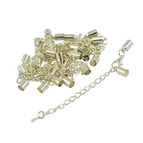 B Baosity Clasp 12 Set of 5mm Extension Chain to Crimp The Tube Bell Ends Fixed Silver White - Silver White
