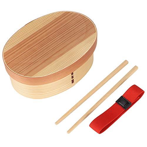 BOLORAMO Recipiente de Comida, Cuenco de vajilla de diseño de Sub-Rejilla de Material de Madera Natural para Estudiantes para Almacenamiento de Sushi