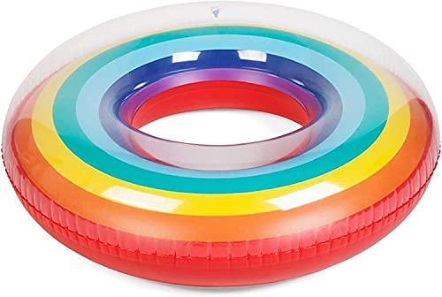 Schwimmring Schwimmring Aufblasbare Pool Schwimmen Kreis Regenbogen Float Pool Schwimmen Ring Für Erwachsene Kinder Frauen Runde Floating Ring Bett Sommer Pool Party Spielzeug (Farbe: 120cm, Größe: a)
