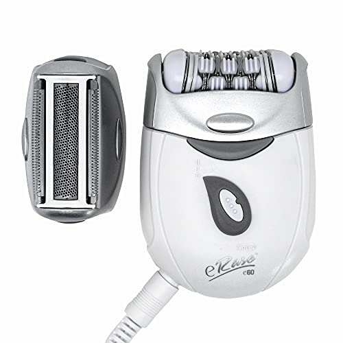 Emjoi eRase e60 Dual Opposed Heads 60-Disc 2-in-1 Electric Epilator Tweezer with Shaver/Trimmer and Sensitive Attachments