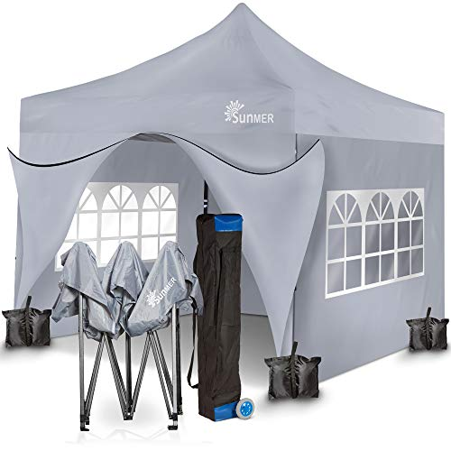 SUNMER 3x3M Pop-Up Gazebo With 4 Sides, Heavy Duty Steel Frame, Fully Waterproof, Wheeled Bag Included For Easy Transportation. GREY