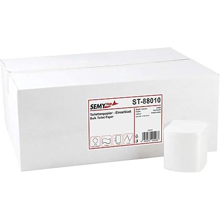Semy Top Pack de 9000 feuillets de papier toilette double couche Blanc 10 x 22 cm