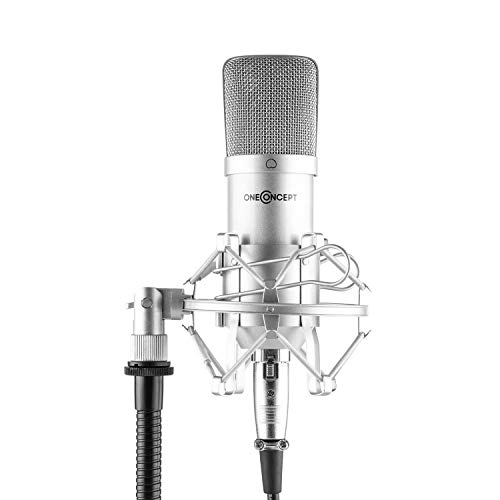 oneConcept Mic-700 - Micrófono Condensador de Estudio, hasta 140 dB, Unidireccional, Gradiente de presión 34mm, Soporte araña, Protector contra Viento, Cable XLR, Metal, Estuche de Cuero, Plateado