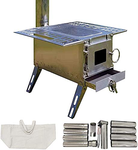 DANCHEL OUTDOOR 304 Stainless Steel Portable Wood Stove with 90inch Height Pipes for Outdoor Tent Camping, 15*15*18
