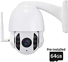 PTZ IP Camera,LEFTEK 1080P WiFi PoE Pre-Installed 64GB 4X Optical Zoom 60M IR Distance 2-Way Audio Outdoor Wireless CCTV Camera Support ONVIF and RS485 Control