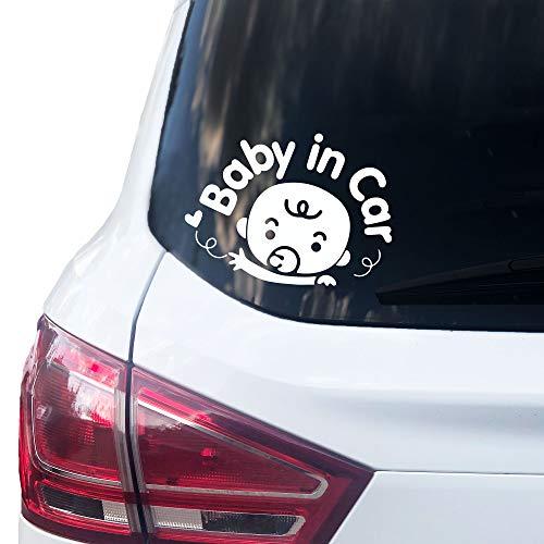 P004 | Baby in Car Sticker 14 cm x 10 cm Auto Sticker Adesivo in vinile Baby On Board (bianco)