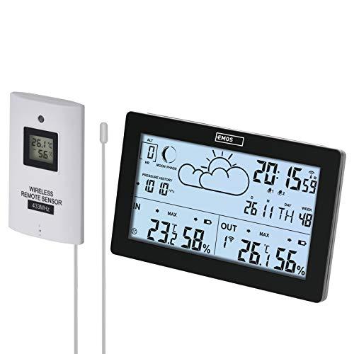 EMOS E5010 Funk-Wetterstation mit Außensensor und gut ablesbarem Display, 12 Funktionen: Thermometer, Hygrometer, Barometer, Wettervorhersage, Funkuhr mit Wecker und Kalenderwoche, Schwarz