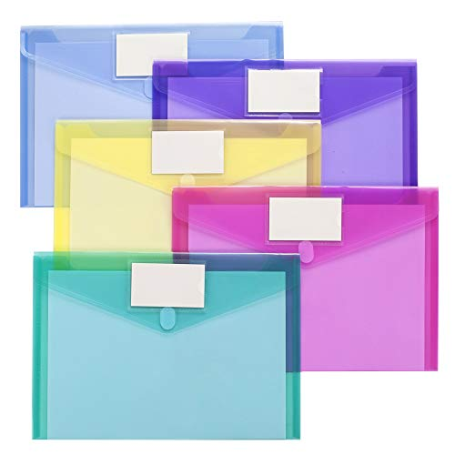 10 Pack Plastic Envelopes Poly Envelopes, Sooez Clear Document Folders Plastic File Folders US Letter A4 Size File Envelopes with Label Pocket, Assorted Color