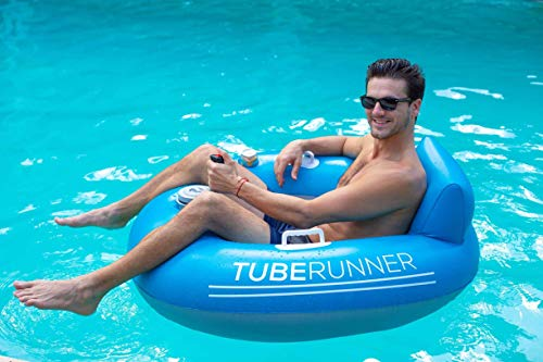 Poolcandy Tube Runner Motorized Water Float, Deluxe Inflatable Swimming Pool or Water Tube, 3-Blade Propeller in Safety Grill, Battery-Powered Motor, Great for Pool, Lake, Adults, Teens, Kids