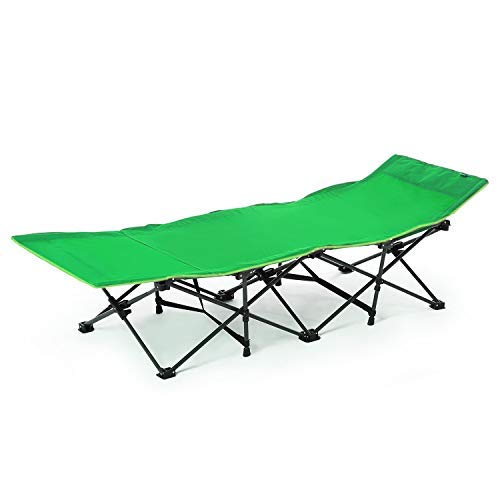 CAMPMAX Folding Camping Cots for Adults Most Comfortable, Extra Wide Portable Sleeping Cot with Pillow and Carry Bag, Great for Camping Outdoor Travel Office Use, Green