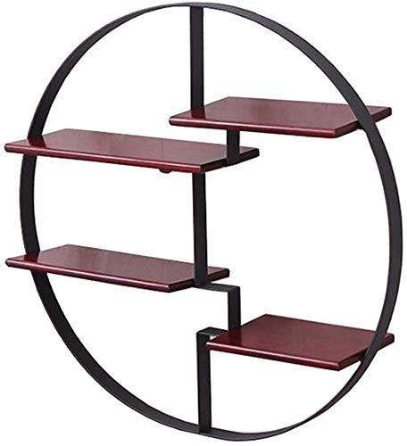 Decoratieve verkoopstandaard voor huis/ijzer, planken, stabiele planken, wandplank van hout, creatief, rond