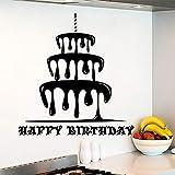 Tianpengyuanshuai Feliz cumpleaños Pegatinas de Pared Pegatinas de Pastel extraíbles decoración de Vacaciones Pastel de cumpleaños Tienda Cocina diseño art-46X50cm