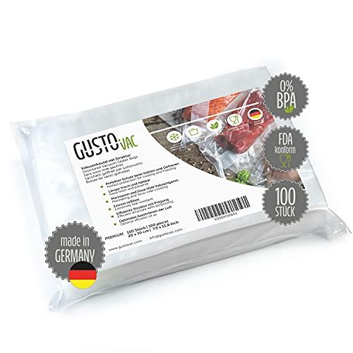 GustoVac PREMIUM Vakuumbeutel - 100 Stk. 20x30 cm - Made in Germany - Für alle Vakuumiergeräte - geprägte Struktur - Sous-Vide Garen geeignet - extra starke Schweißnaht - GRATIS E-Book
