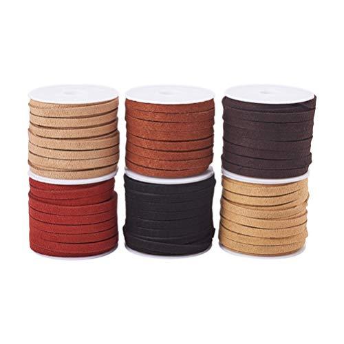 HEALLILY cordón de gamuza cuerda de cuero de imitación hilo de cuerda para pulsera collar rebordear joyería manualidades diy 6 colores