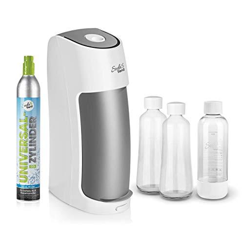 Soda Trend Wassersprudler ST2-G100 | Inkl. CO2 Universalzylinder, 2xGlasflasche und 1xPET-Flasche | EasySlide Funktion [weiß/grau]
