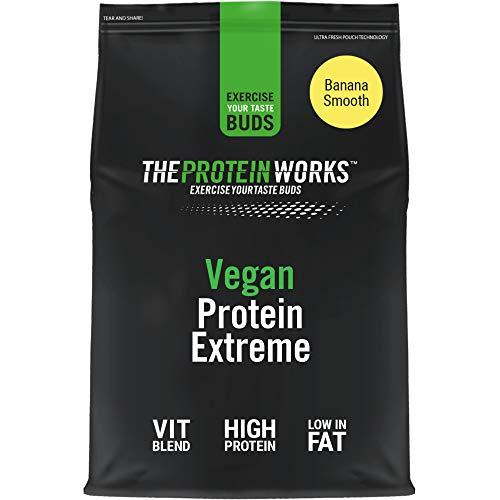 Proteina Vegana Extreme In Polvere   Banana Vellutata   100% a base vegetale   CINQUE fonti proteiche   Vitamine e minerali aggiunti   THE PROTEIN WORKS   500g