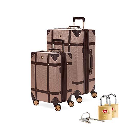 SWISSGEAR 7739 Trunk, Hardside Spinner Luggage (Blush, 2-Piece Set and Lock Bundle)