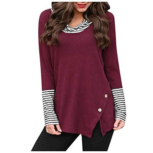 Lazzboy Damen Splice Stripe Button Langarm Mit Wasserfallausschnitt Strick Lady Pullover Tops Bluse Shirt Leicht Rundhals(Wein,M)