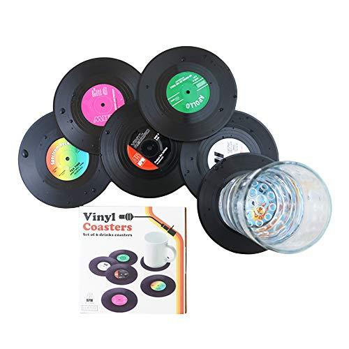 Lot de 6 dessous-de-verre en forme de disque vinyle pour le café
