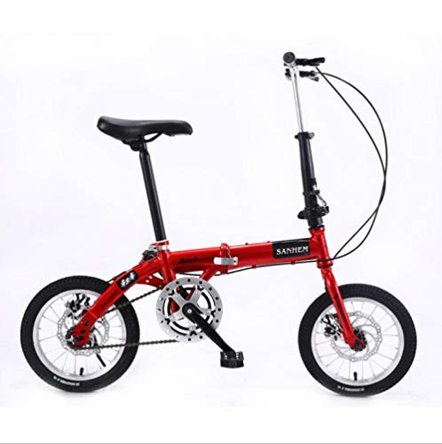 DGAGD 14 inch Lightweight Folding Bicycle Single Speed disc Brake Bicycle red