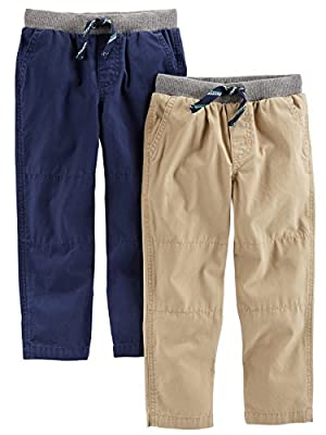 Simple Joys by Carter's Baby Boys' Toddler 2-Pack Pull on Pant, Khaki, Navy, 4T by Carter's Simple Joys - Private Label