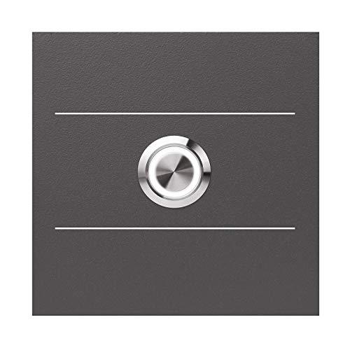LED-Klingel anthrazit-eisenglimmer (DB 703) MOCAVI Ring 505 G01 V4A-Edelstahl Klingel-Taster mit Edelstahl-Detail, quadratisch (8,5 cm), modern, matt