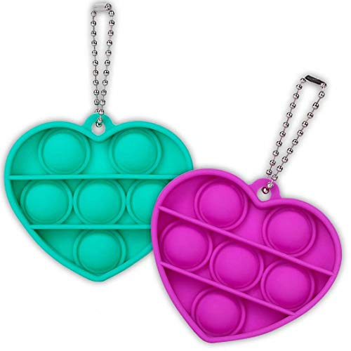 ZNNCO Mini Push Pop Fidget Keychain Toy,Heart Shape Silicone Squeeze Anti-Anxiety Fidget Toys,Popping Fidget Novelty Gift for Kids Adult (Purple+Green)