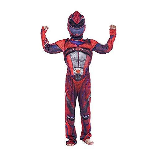 Disfraz Power Rangers Halloween Músculo Cosplay Costume con Máscara Niño Rojo