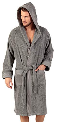 Turkish Cotton Terry Men's Bathrobe - Hooded Cotton Terry Cloth Robe - Long, Textured, Rice Weave Trim Bathrobe (Small, Grey / Hooded)
