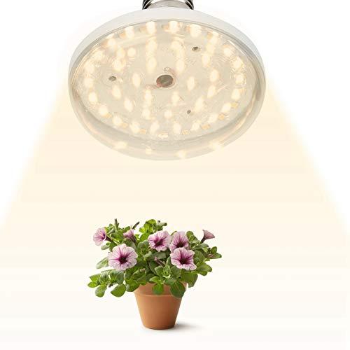 10W E27 LED Grow Light, 40 LED Bombilla de Crecimiento de Plantas de Espectro Completo con ángulo de Haz de 120 °, 100LM CRI 97 LED Lámpara hortícola con Cabezal de lámpara con Cable(10W 40LED)