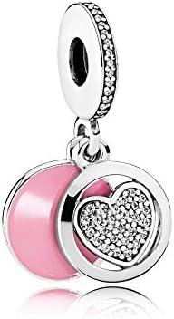 Pandora Sterling Silver Devoted Heart Dangle Charm 792149EN24 product image