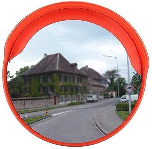 SMTAO Espejo de Tráfico Convexo Espejo de Tráfico de Seguridad Vial en la Carretera, Rojo Lente Gran Angular Redonda Espejo Convexo Duradero E Inastillable Espejo de Punto Ciego de Intersección de Gi
