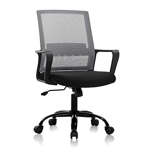 Home Office Chair Ergonomic Desk Chair Mid Back Mesh Chair Swivel Rolling Computer Chair Modern Task Chair Executive Chair,with ArmrestsLumbar Support Task Adjustable Stool for Women Men -Grey