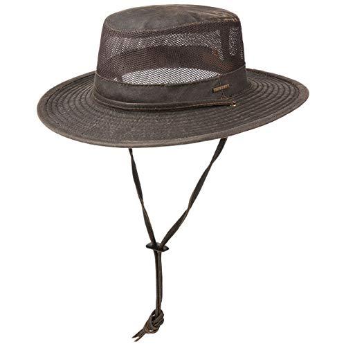 Stetson Mesh Crown Outdoorhut - Cowboyhut Herren - Travellerhut mit UV-Schutz 40 - Herrenhut Used Look - Sommerhut Frühjahr/Sommer - Sonnenhut Dunkelbraun L (58-59 cm)