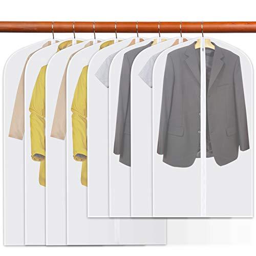 8 PCS Suit Bag Kit Dustproof Garment Bag Translucent Clothes Covers Waterproof Anti-mite Breathable Suit Covers for Men and Women 2 Sizes 24 * 40 inch/ 60 * 100cm 4PCS + 24 * 47 inch/ 60 * 120cm 4PCS
