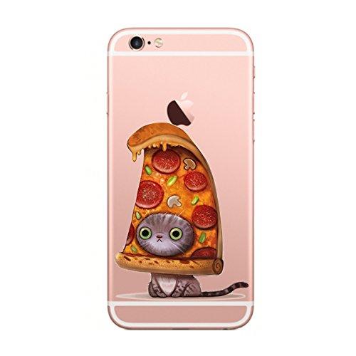 Caler iPhone 6 Plus Funda, Case Dibujos Animados Divertida Suave Transparente Silicona Gel Ultra Slim Suave Cover Anti-arañazos Protección Carcasa (Pizza Gatos)