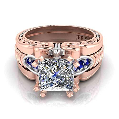 Jbr - Anillos de compromiso de plata de ley con diamantes de corte princesa para mujer