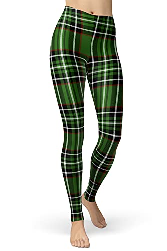 sissycos Damen Plaid Leggings, Tartan Karo Leggings mit für Damen, Yoga Mädchen Fashion Stretch Leggins Lang (Grünes Plaid, S/L)