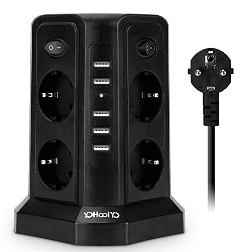 YOHOOLYO - Regleta con protección contra sobretensión, con 8 tomas eléctricas y 5 puertos USB, bloque múltiple USB, 2500 W, 2,5 m