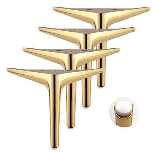 Qrity 4er Pack 12cm Golden Dreieckige Möbelbeine, Galvanik-Polierverfahren, geeignet für Schrank, Sofa, Couchtisch, TV-Schrank und andere Möbel