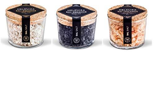 La Melguiza - Flor de Sal Marina en Escamas: Sal es escamas con Azafrán 80 gr , Sal es escamas con Trufa 80 gr y sal en escamas negra 80 gr