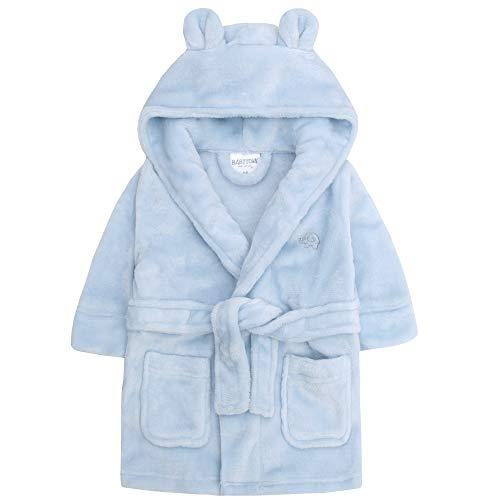 Baby Jungen & Mädchen Unisex Bademantel (Altersstufen 6-24 Monate) Weiches Plüsch Flanell Fleece mit Kapuze Bademantel - Blau, 6-12 Monate